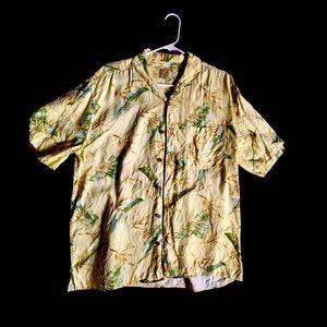 Jos. A. Bank tropical Hawaiian shirt pale yellow